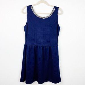 😄 Charming Charlie Navy Blue crew neck dress L